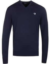 Fred Perry - Navy Merino Wool Classic V-neck Jumper - Lyst