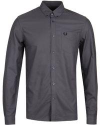 Fred Perry Gunmetal Grey Classic Oxford Shirt - Gray