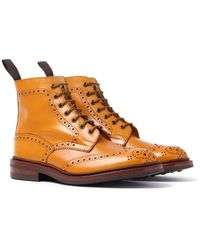 Tricker's Tricker's Stow Acorn Antique Brogue Derby Country Boots - Brown