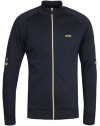 BOSS by Hugo Boss Skaz 1 Zip Through Navy & Gold Sweatshirt - Blue