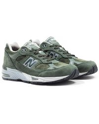 New Balance 991 Made In England Dark Green & Grey Suede Sneakers