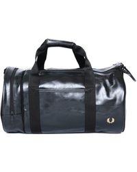 Fred Perry Tonal Black Barrel Bag