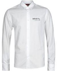 HUGO Emero Tape Logo Straight Fit White Long Sleeve Shirt