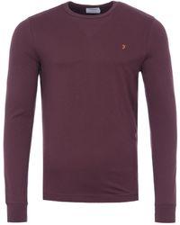 Farah Worthington Organic Cotton Slim Fit Long Sleeve T-shirt - Red
