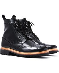 Grenson - Fred Black Leather Brogue Boots - Lyst
