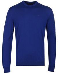 Emporio Armani - Royal Blue Virgin Wool Crew Knit - Lyst