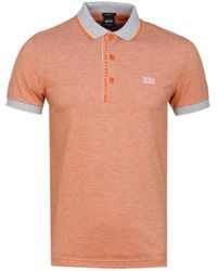BOSS Green - Paule4 Slim Fit Orange Marl Polo Shirt - Lyst