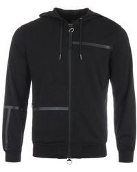 Armani Exchange Tape Logo Zip Hooded Sweatshirt - Black