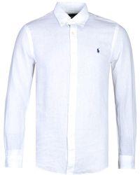 Polo Ralph Lauren Slim Fit Long Sleeve White Linen Shirt