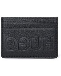 HUGO - Victorian Black Leather Card Holder - Lyst