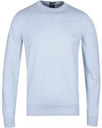 BOSS - Pacas Crew Neck Sky Blue Knit - Lyst