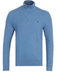 Polo Ralph Lauren Waffle Knit Blue Quarter Zip Sweater