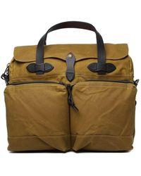 Filson Dark Tan 24 Hour Tin Briefcase - Natural