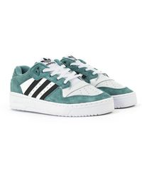 adidas Originals Rivalry Low Trainers - White, Hazy Green & Black