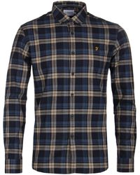Farah - Radley Canvas Blue Check Shirt - Lyst