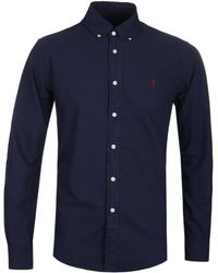 Polo Ralph Lauren - Garment Dyed Navy Slim Fit Oxford Shirt - Lyst