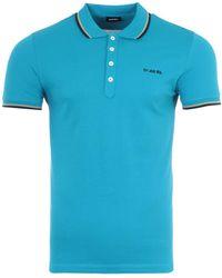 DIESEL T-randy Broken Logo Polo Shirt - Blue
