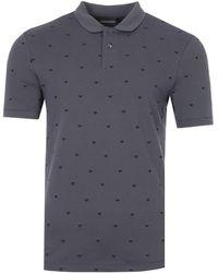 Emporio Armani All Over Eagle Polo Shirt - Grey