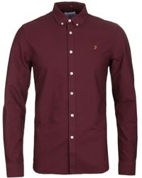 Farah - Brewer Red Slim Fit Oxford Shirt - Lyst