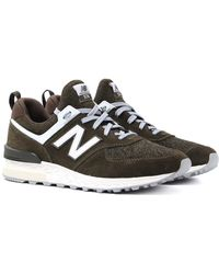 New Balance - 574 Dark Olive Trainers - Lyst