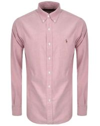 Polo Ralph Lauren Long Sleeve Pink Chambray Shirt - Grey