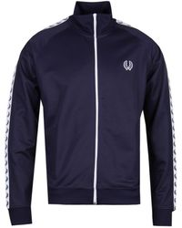 Fred Perry Sports Taped Carbon Blue Track Jacket