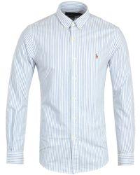 Polo Ralph Lauren Slim Fit Stripe Blue Shirt