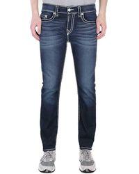 True Religion Rocco Relaxed Skinny Super T Murky Tide Indigo Wash Denim Jeans - Blue