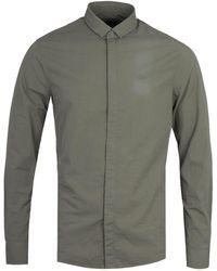 Armani Exchange Regular Fit Long Sleeve Military Green Seersucker Shirt