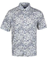 Albam - Navy Floral Short Sleeve Shirt - Lyst