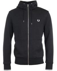 Fred Perry Zip-through Hooded Sweatshirt - Black