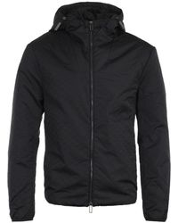 Emporio Armani All Over Logo Jacquard Black Hooded Jacket