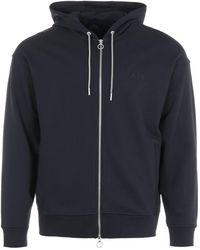 Armani Exchange Zip-through Hooded Sweatshirt - Navy - Blue