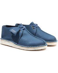 Clarks Leather Desert Trek Shoes - Blue