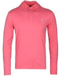 Polo Ralph Lauren - Salmon Pink Hooded Long Sleeve T-shirt - Lyst