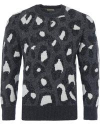 Nudie Jeans Hampus Leopard Organic Wool Jumper - Black