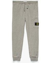 Stone Island Badge Logo Cargo Sweatpants - Gray