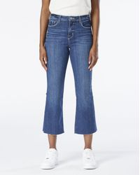 L'Agence Women's Kendra High Rise Crop Flare Jeans - Blue