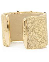 De Grisogono 18k Yellow Gold & Brown Pvd Coated Diamond Galuchat Cuff Bangle - Metallic