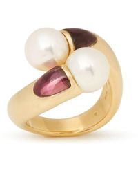 Mikimoto 18k Yellow Gold Akoya Pearl & Tourmaline Ring - Metallic