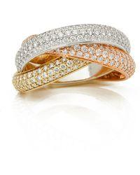 Cartier - 18k Yellow, White & Rose Gold Diamond Classic Trinity Ring - Lyst