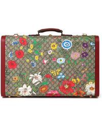 Gucci GG Flora Coated Canvas & Red Pigskin Leather Suitcase Trunk