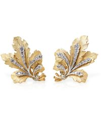 Buccellati 18k Yellow Gold Diamond Leaf Design Clip-on Earrings - Metallic