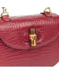 Gucci Burgundy Alligator Leather Bamboo Classic Top Handle - Multicolor