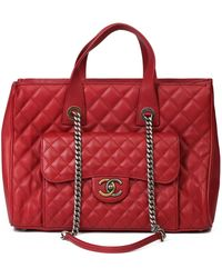Chanel Burgunday Quilted Caviar Leather Timeless Shoulder Tote - Red