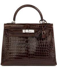 Hermès Chocolate Brown Shiny Porosus Crocodile Leather Kelly 28cm Sellier