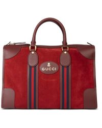 Gucci Red Suede & Burgundy Pigskin Web Medium Duffle Bag