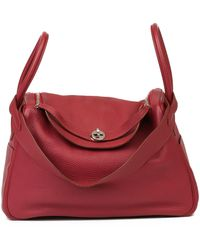 Hermès Rubis Clemence Leather Lindy 34cm - Red