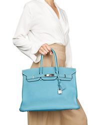 41f9359031 Hermès Authentic New Handbag Birkin 35 7f Bleu Paon Togo Ss Togo Green Birkin  35 in Green - Lyst