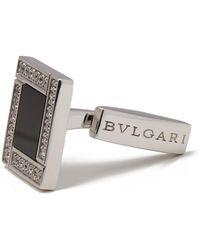 BVLGARI \n Silver White Gold Cufflinks - Metallic